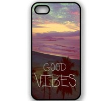 S9Q Retro Tribal Vintage Good Vibes Pattern Black Sides Hard Back Case Cover Skin For Apple iPhone 5 5G Style A
