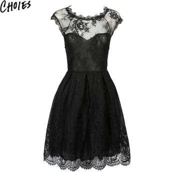 Women Black Vintage Cap Sleeve Semi Sheer Lace Overlay Skater Mini Dress Summer Fashion Floral Sweetheart Elegant Dresses