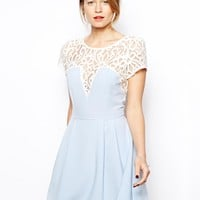 Love Skater Dress with Lace detail and Box Pleat Skirt - Pale blue