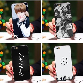 Smmnas Bangtan Boys BTS KPOP Printed Soft Rubber Skin Cell Phone Cases For iPhone 8 iphone X 6 6S Plus 7 7 Plus 5 5S SE Cover
