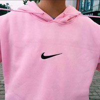 "Fashion ""Nike"" Print Hooded Pullover Tops Sweater Sweatshirts"