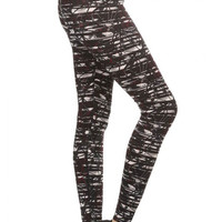 Stylish Abstract Print Athletic Legging