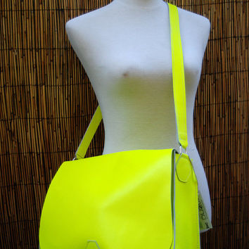 END of SUMMER SALE Bright Neon Yellow Saddle Bag // by BuboBaggins