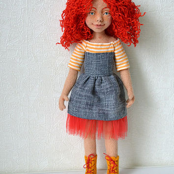 Needle felted doll. Collectible toy. Red hair girl.