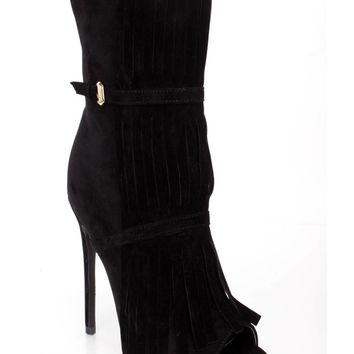 Black Fringe Strappy Single Sole Booties Faux Suede