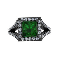Emerald Engagement Ring Princess Cut Diamond Engagement Ring 14K Black Gold with 6.5x6.5mm Green Emerald Center - V1087