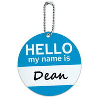 Dean Hello My Name Is Round ID Card Luggage Tag