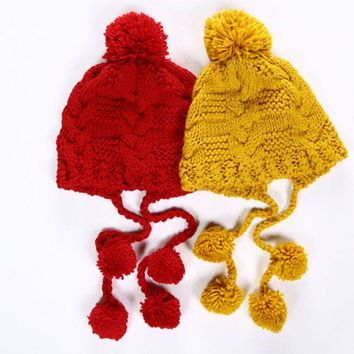 DCCK6HW Solid Color Twist Tassel Hairball Manual Knit Beanie Hat Winter Accessories