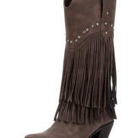 Women's Distressed Faux Leather Boot - Brown