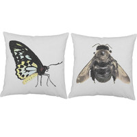 Set of 2 Insect Print Pillows - Bug Pillow Covers with out without Cushion Inserts - Science Print, Butterfly Pillow, Bumblebee Pillow, Bug