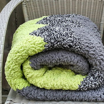 Bulky Blanket   Chunky Crochet Blanket   Large Chunky Knit Throw   Grey and Lime Afghan   Chevron Striped Bulky Throw   Ready to Ship