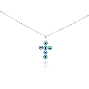 .925 Sterling Silver Rhodium Cross Evil Eye Cubic Zirconia Necklace 18 Inches