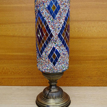 Turkish handmade unique colourful glass mosaic cylindrical night lamp, table lamp, bedside lamp, bedroom night lamp.