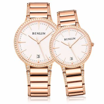 BINLUN Rose Gold Ultra Thin Automatic His & Hers Pair Watches