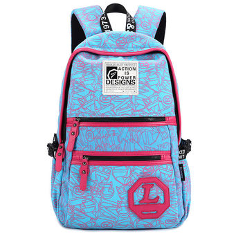 Zippers Backpack Cool Alphabet Canvas Travel Bags [6304976964]