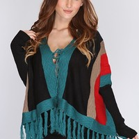 Black Multi Knitted Pattern Lace Up Outerwear