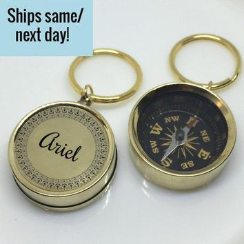Gold Engraved Compass, Gold Custom Compass Keychain, Engraved Compass Keychain, Gold Compass, Gold Compass Keychain, Customized Compass Gift