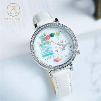 MISS KEKE Luxury Rhinestone Glitter leather Flower Watches Women Leather kids children quartz Wristwatches Clock 201