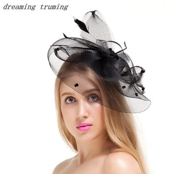 Vintage Black Evening Prom Party Costume Wedding Bridal Birdcage Fascinator Face Veils Feather Flower with Hairpins Bridal Hat