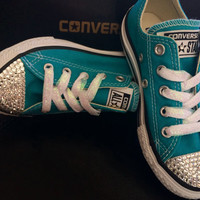 SALE Girls crystal converse-bling-girls swarovski converse-girls custom converse-girls blinged up shoes-little girls size 10.5