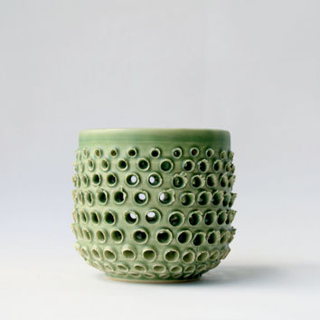 Pale Green Vessel - Contemporary Home Decor - Pierced Ceramic Vase - Spring Green Art Vessel - OOAK Clay Pot - Small Geometric Pottery