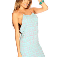 Baby Blue Contrast Cage Back Sexy Summer Dress