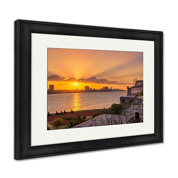 Framed Print, Beautiful Sunset In Havana With A View Of The City Skyline The El Morro