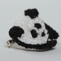 Cotton crocheted handmade baby brooch in the form of panda designer jewelry