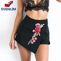EVENLIM Embroidery Floral Button Short Skirts Asymmetrical Empire Mini Skirts Fashion Black Print Floral Pencil Skirts DRP1521