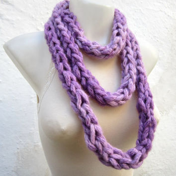Finger Knit Scarf,infinity Scarf,Knitting Cowl Chain Loop Scarf