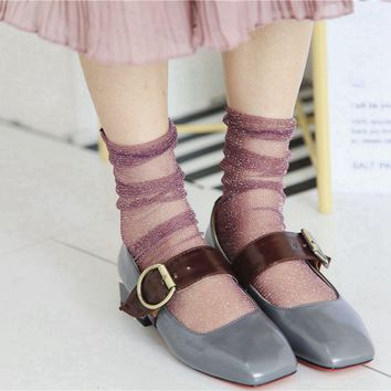 1Pair New Fashion Summer Sexy Women Lady Glitter Mesh Ankle Socks Soft Elasticity Gauze Fishnet Socks