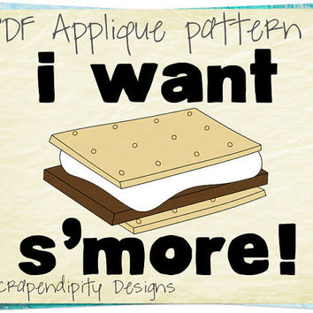 S'More Applique Template - Food Clothing Applique Pattern / Kids Shirt Design / Camping Quilt Pattern / Iron on Boys Transfer Tshirt AP74-D