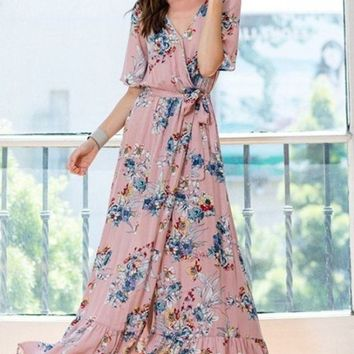 Destiny Blush Floral Wrap Maxi Dress