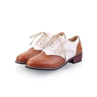 New Womens lady  Shoes Lace Up Brogues Girls College Oxford Low Flat Heels