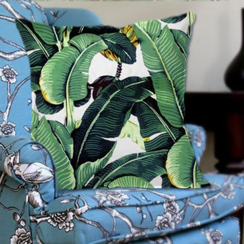 Cute Tropical Banana Leaf on Decorative Pillow Cover by NaystaCover