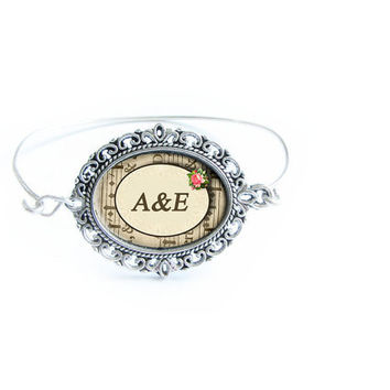 Oval Initial Bracelet Silver Wire Wrapped Bangle Jewelry