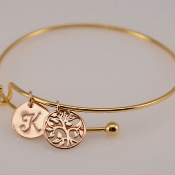 Tree of life bracelet. Gift for grandmother. Family tree jewelry. Removable charm bracelet