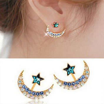 2016 Fashion New Arrival Women Rhinestone Moon Star Earrings Pentacle Pendant Stud Earrings Female E195