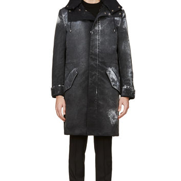 Maison Martin Margiela Black Cavas Coated And Shearling Coat