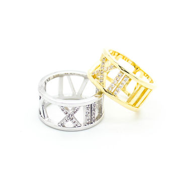 Roman numeral stone ring