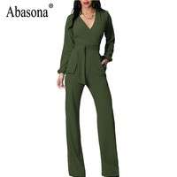 Abasona Women Jumpsuits Autumn Long Sleeve Wide Leg Pants Rompers Jumpsuit Elegant Ladies Casual Wear Bow Sashes Office Overalls