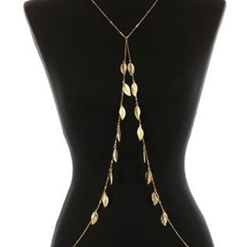 Body Chain Metal Leaf Fringe Necklace And Curb Chain 30 Inch Long 10 Inch Drop