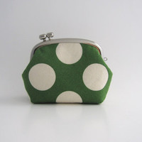 Frame Coin Purse- side lock frame pouch -green polka dots