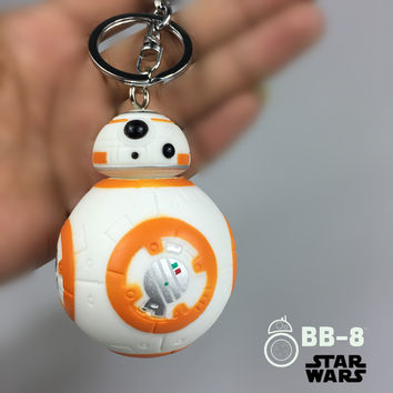 HOT 7cm Heigh Reduction Keychain New Star Wars The Force Awakens BB8 BB-8 Droid Robot Action Figure Toys Kids Christmas Gift