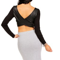 Black Faux Leather Criss Cross Back Top