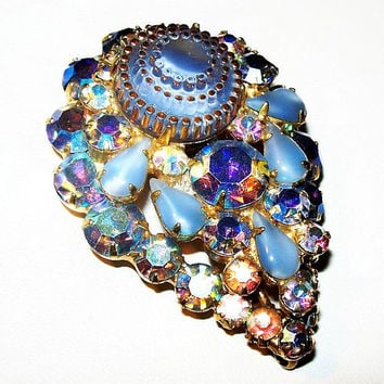 "Juliana D and E Brooch Blue Wedding Cake & AB Rhinestones 3 Tiers Gold Metal Book Piece 2.5"" Vintage"