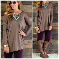 Galloway Brown Piko Long Sleeve Top