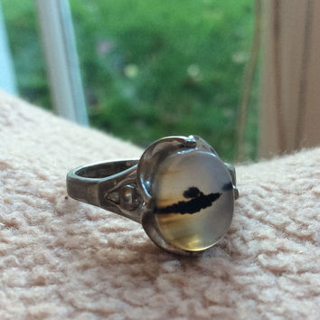 Moss Agate Ring, Art Deco, Sterling Silver Vintage Jewelry