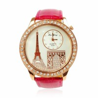 ZLYC Rhinestone Embedded Eiffel Tower and Triumphal Arch Ladies Wrist Watch