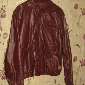 vintage leather jacket 80s burgundy bomber biker cafe racer jacket with hood unisex